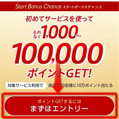 Rakuten Linkアプリのウォレット SBC(スタートボーナスチャンス)のエントリーボタン