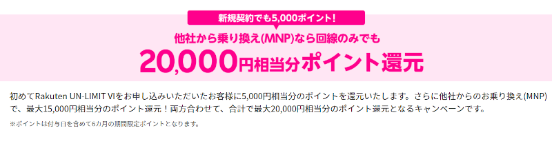 楽天モバイル 他社からの乗り換え(MNP)で20,000ポイントプレゼントキャンペーン