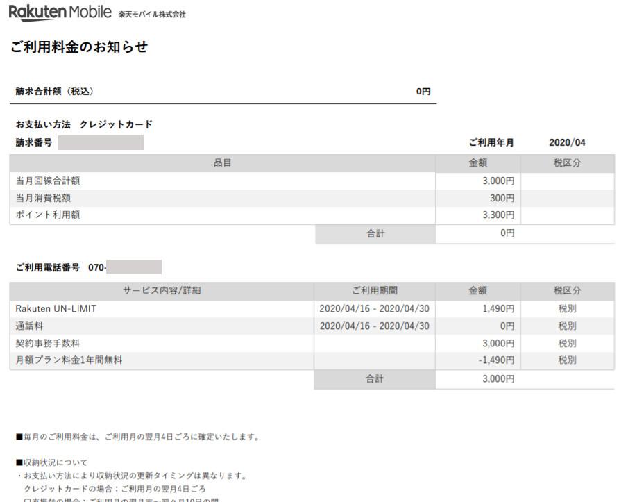 楽天モバイル 初月の利用明細(PDF)