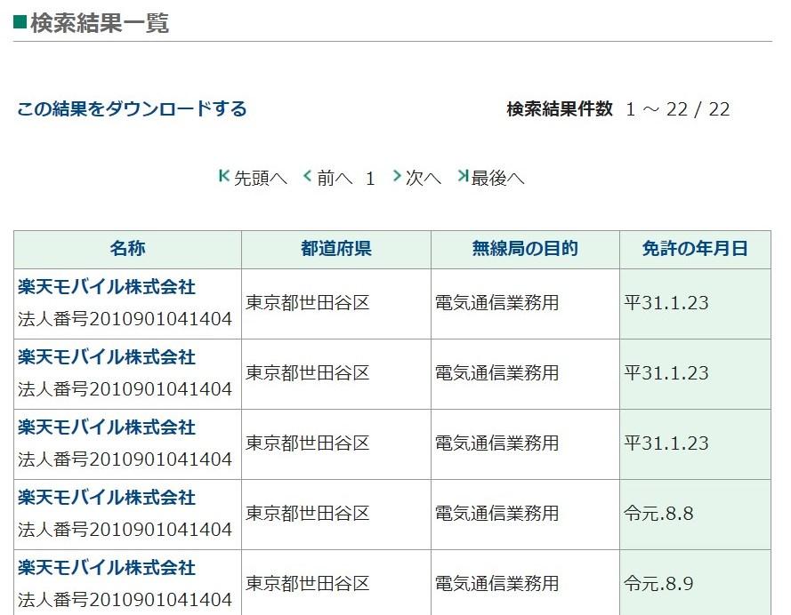 楽天モバイル基地局の免許情報 総務省サイトでの検索結果